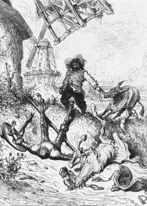 Don Quijote and Rocinante, after the battle with the windmill